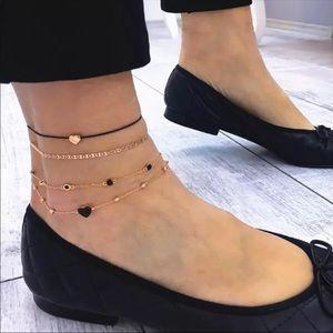 🆕 Gold Hearts Anklet Set 4Pc